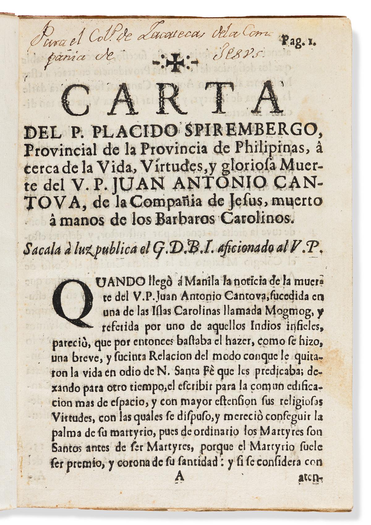 Spirembergo, Plácido [aka Foucher Spilimberg] Carta del P. Placido Spirembergo, Provincial de la Provincia de Philipinas, á cerca de la