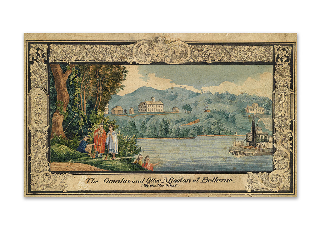 (NEBRASKA.) [Schimonsky, Stanislas W.Y.] The Omaha and Ottoe Mission at Bellevue from the East.