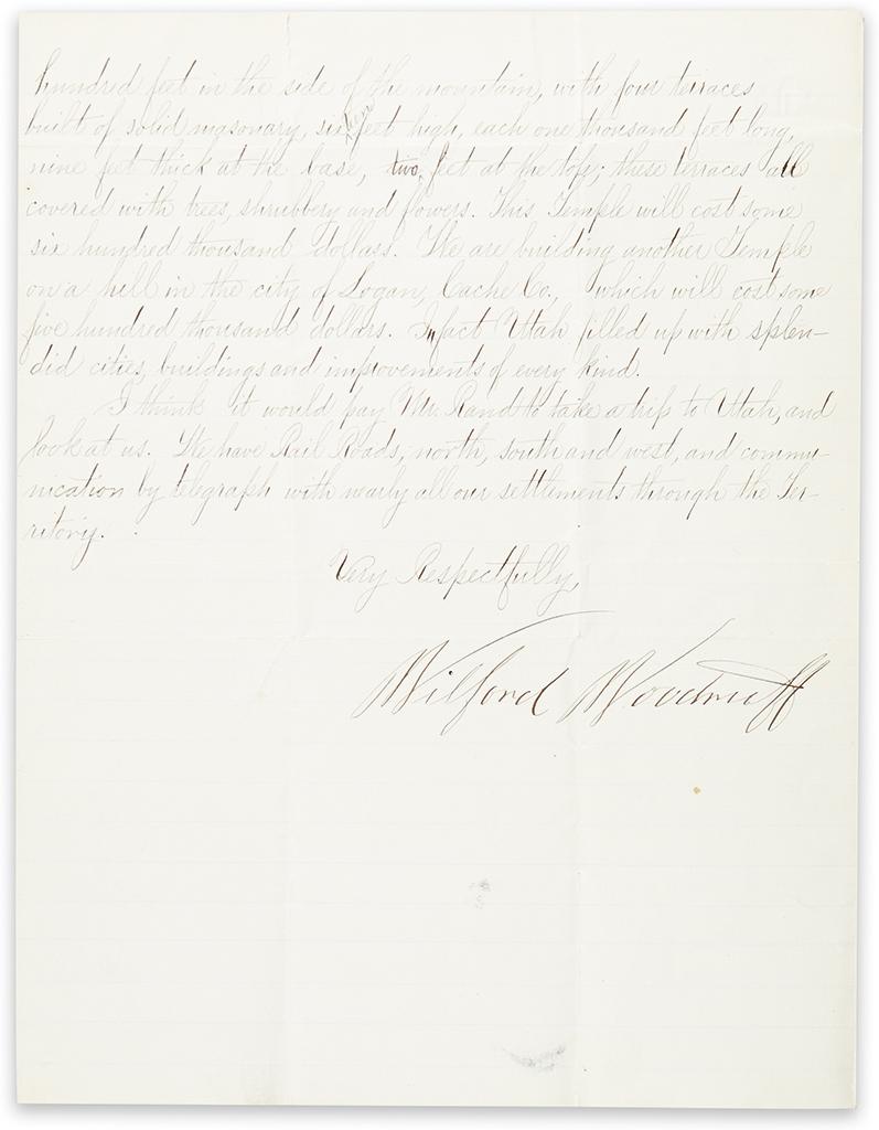 (MORMONS.) Woodruff, Wilford. Letter describing the Mormon settlement and development of Utah.