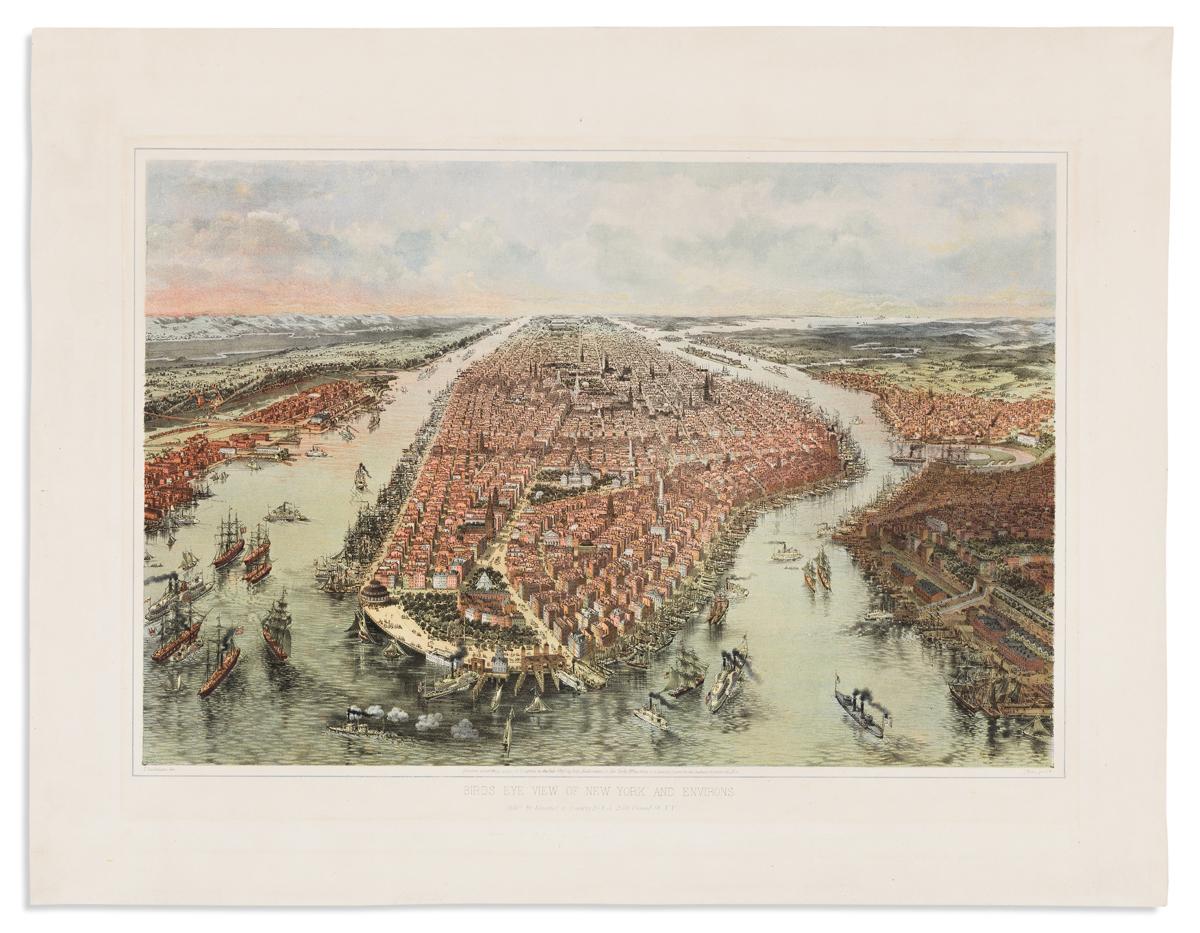 (NEW YORK CITY.) Bachmann, John. Birds Eye View of New York and Environs.