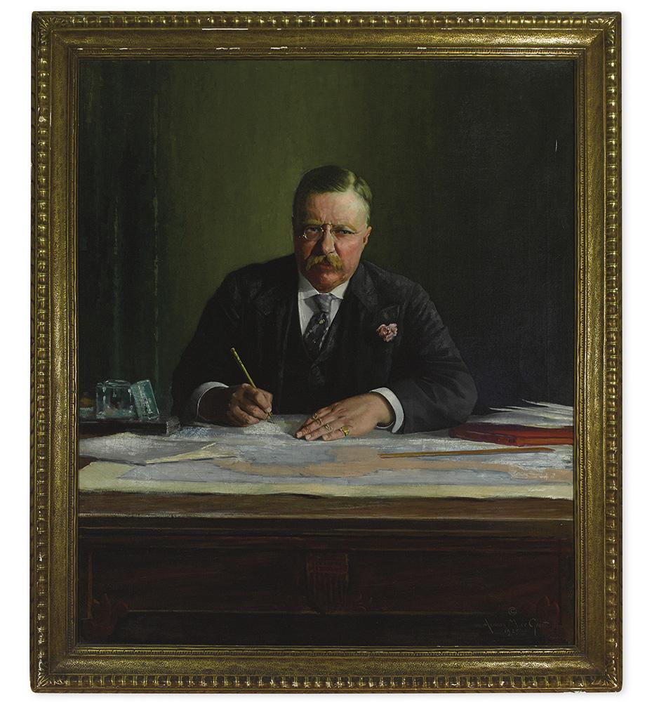 (ROOSEVELT, THEODORE.) Groot, Adriaan M. de. Portrait of Theodore Roosevelt at his desk.