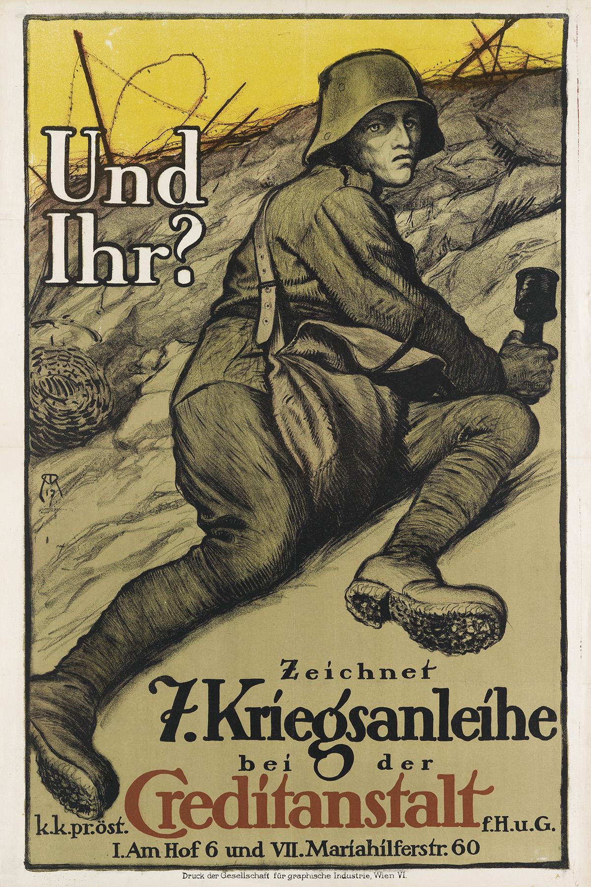 ALFRED ROLLER (1864-1935). UND IHR? / 7. KRIEGSANLEIHE. 1917. 37x24 inches, 94x63 cm. Gesellschaft fur Graphische Industrie, Vienna.