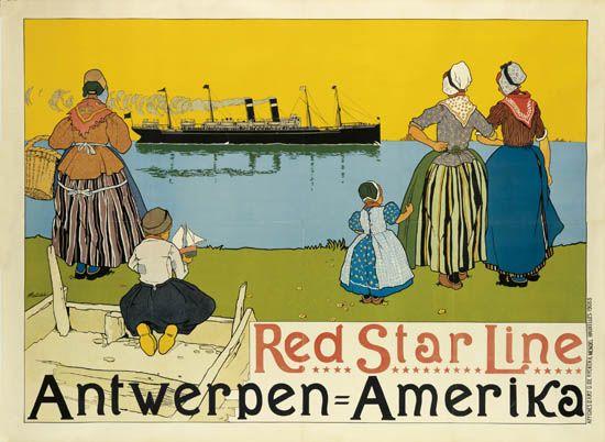 (RED STAR LINE.) Red Star Line. Antwerpen = Amerika.