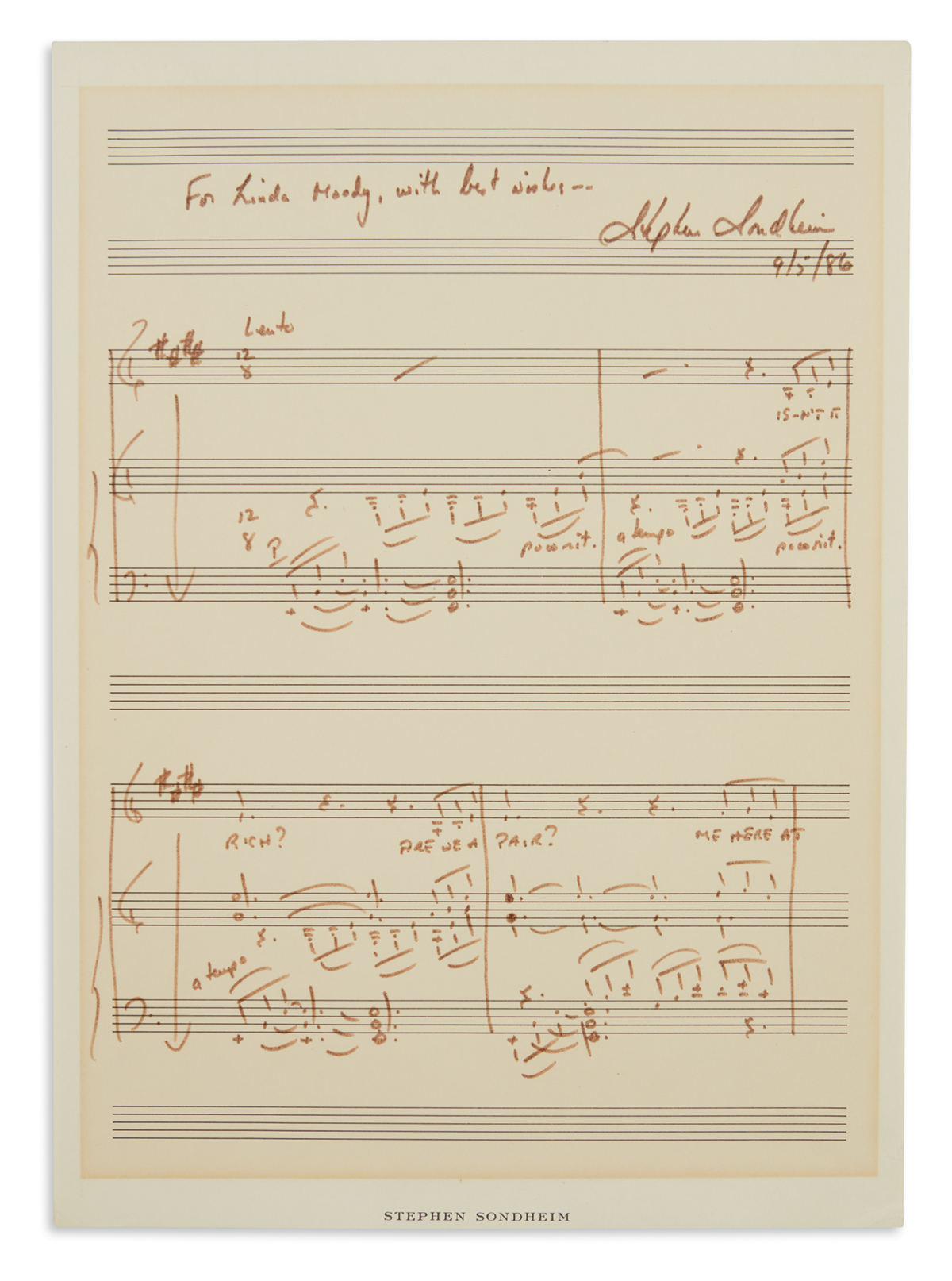 SONDHEIM-STEPHEN-Autograph-Musical-Quotation-Signed-and-Insc