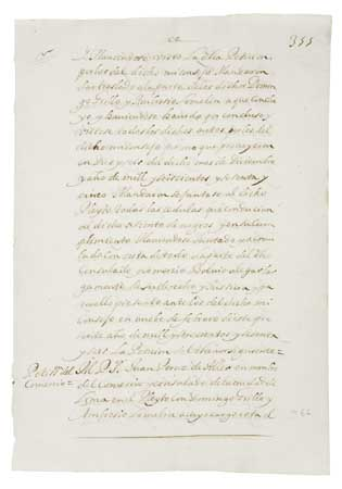 "(SLAVERY AND ABOLITION.) Manuscript in Spanish; portion of the official ledger regarding the contract or ""asiento"" granted to Domingo G"