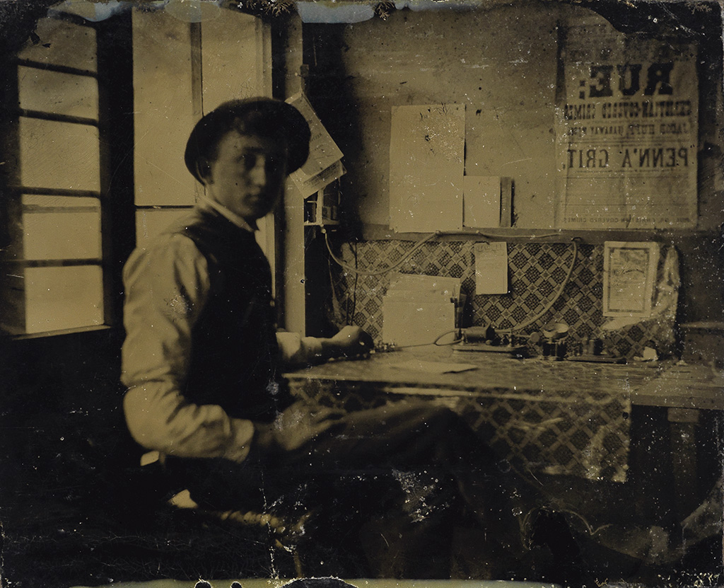 (AMERICAN TINTYPES) Group of 21 select male and female occupationals, including a sculptor, telegraph operator, sniper,