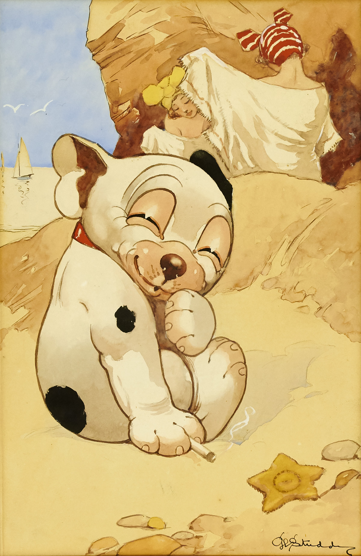 GEORGE E. STUDDY. Nothing to Write Home About. [DOGS /BONZO /POSTCARD]