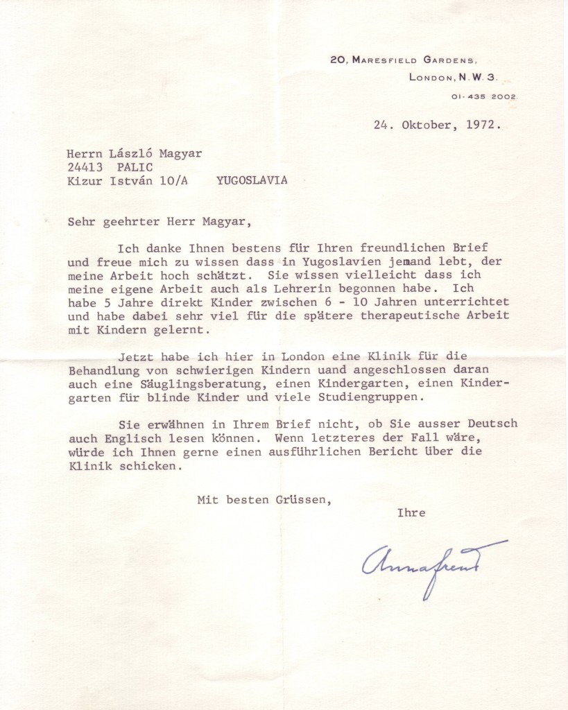 (SCIENTISTS.) FREUD, ANNA. Typed Letter Signed, to László Magyar, in German,