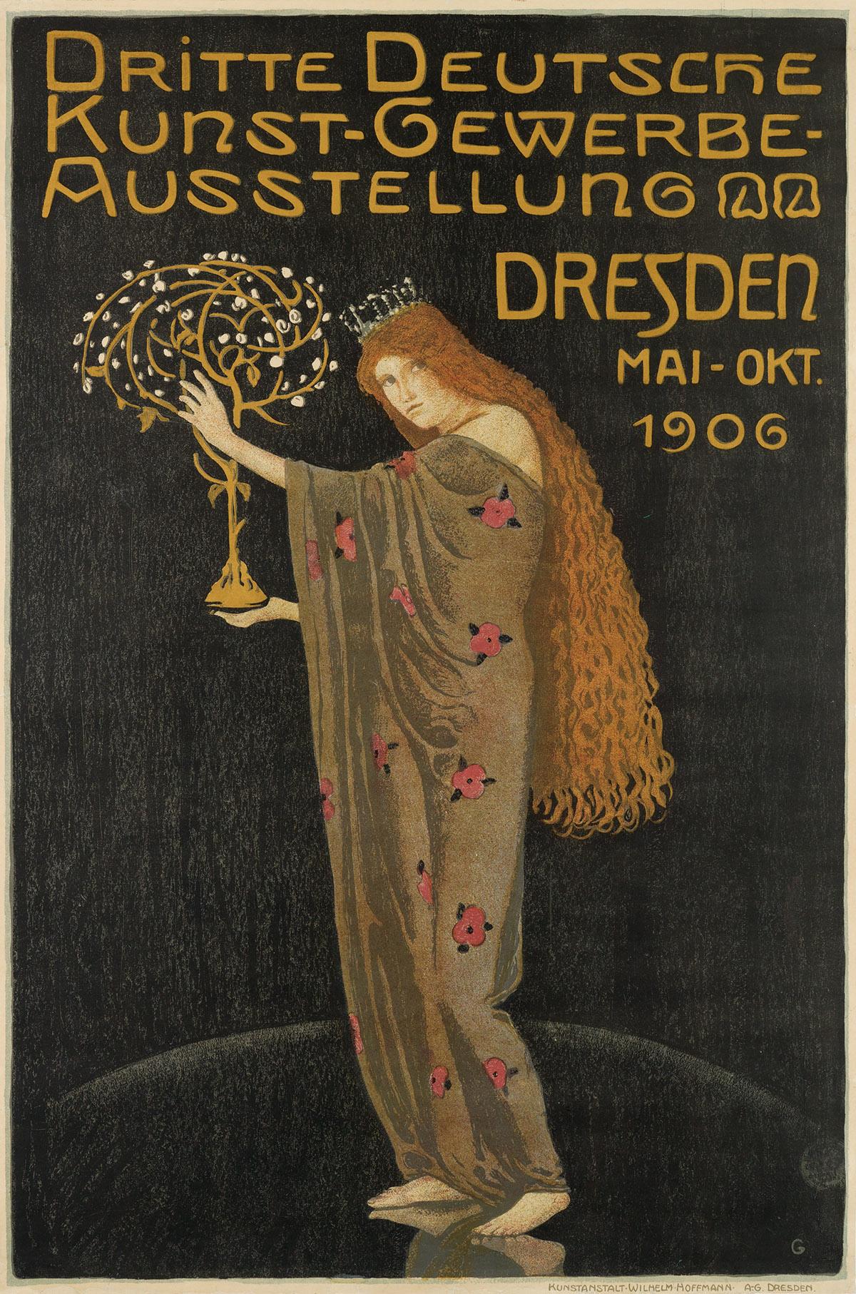 OTTO GUSSMANN (1869-1926). DRITTE DEUTSCHE KUNST - GEWERBE - AUSSTELLUNG / DRESDEN. 1906. 35x23 inches, 90x59 cm. Wilhelm Hoffmann, Dre