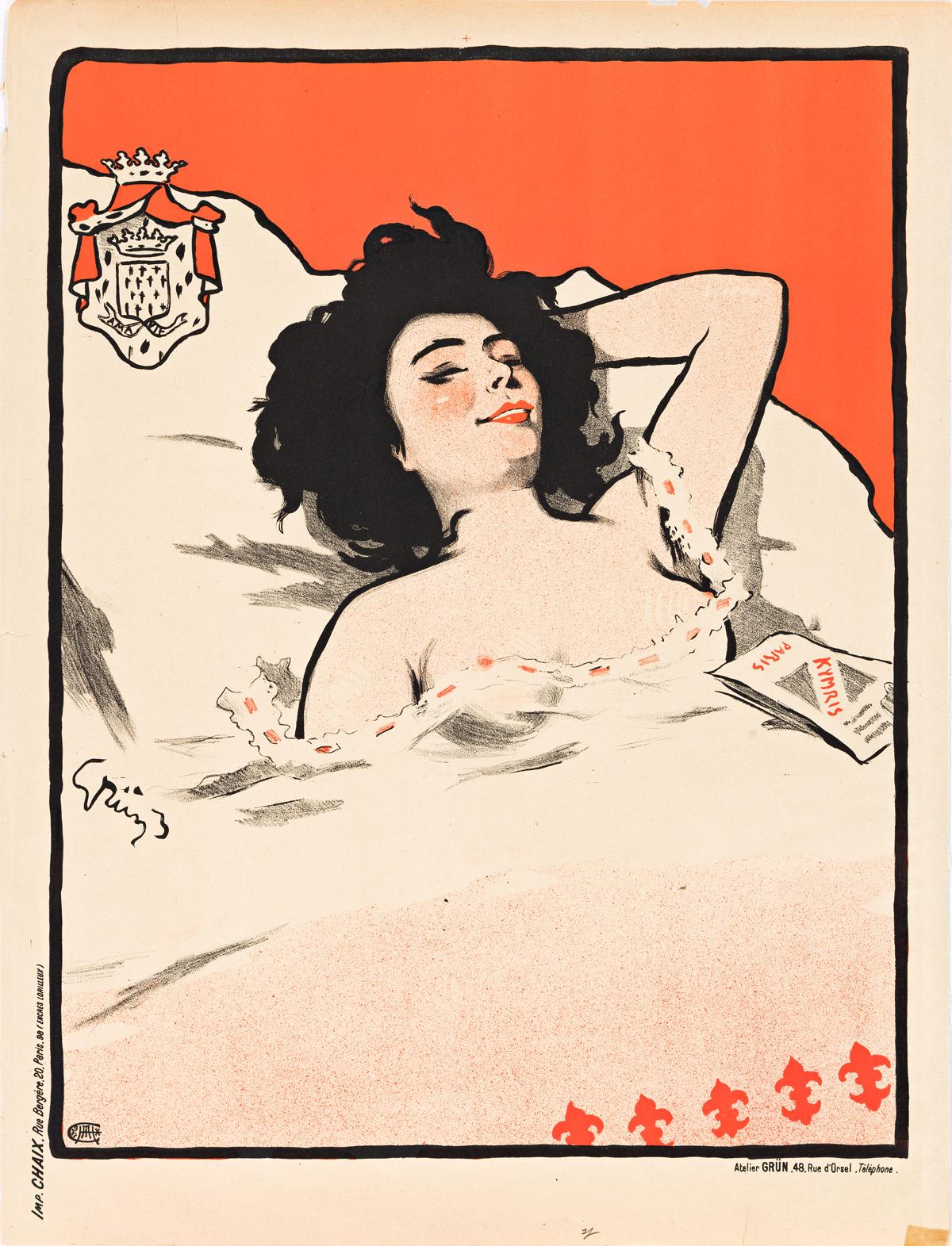 JULES-ALEXANDRE GRÜN (1868-1938) & JULES CHÉRET (1836-1932).  [ART NOUVEAU.] Group of 3 posters. Circa 1890s. Sizes vary, each approxim