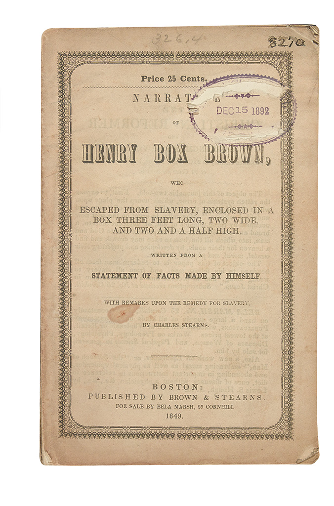 (SLAVE NARRATIVES.) BROWN, HENRY BOX. Narrative of Henry Box Brown, who Escaped from Slavery, Enclosed in a Box Three Feet Long, Two