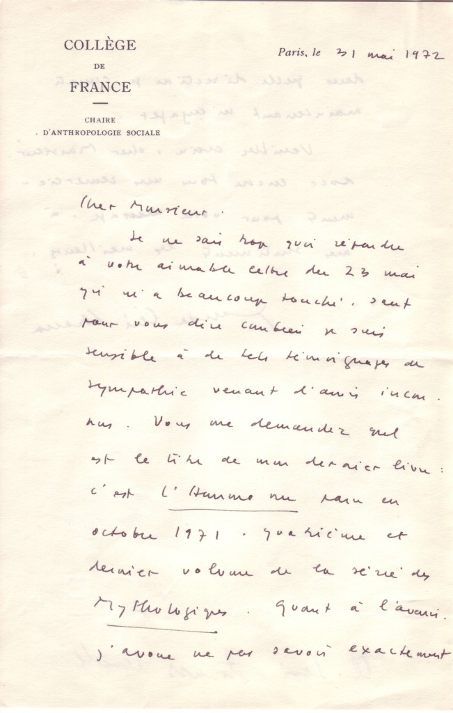 (SCIENTISTS)-LÉVI-STRAUSS-CLAUDE-Autograph-Letter-Signed-to-
