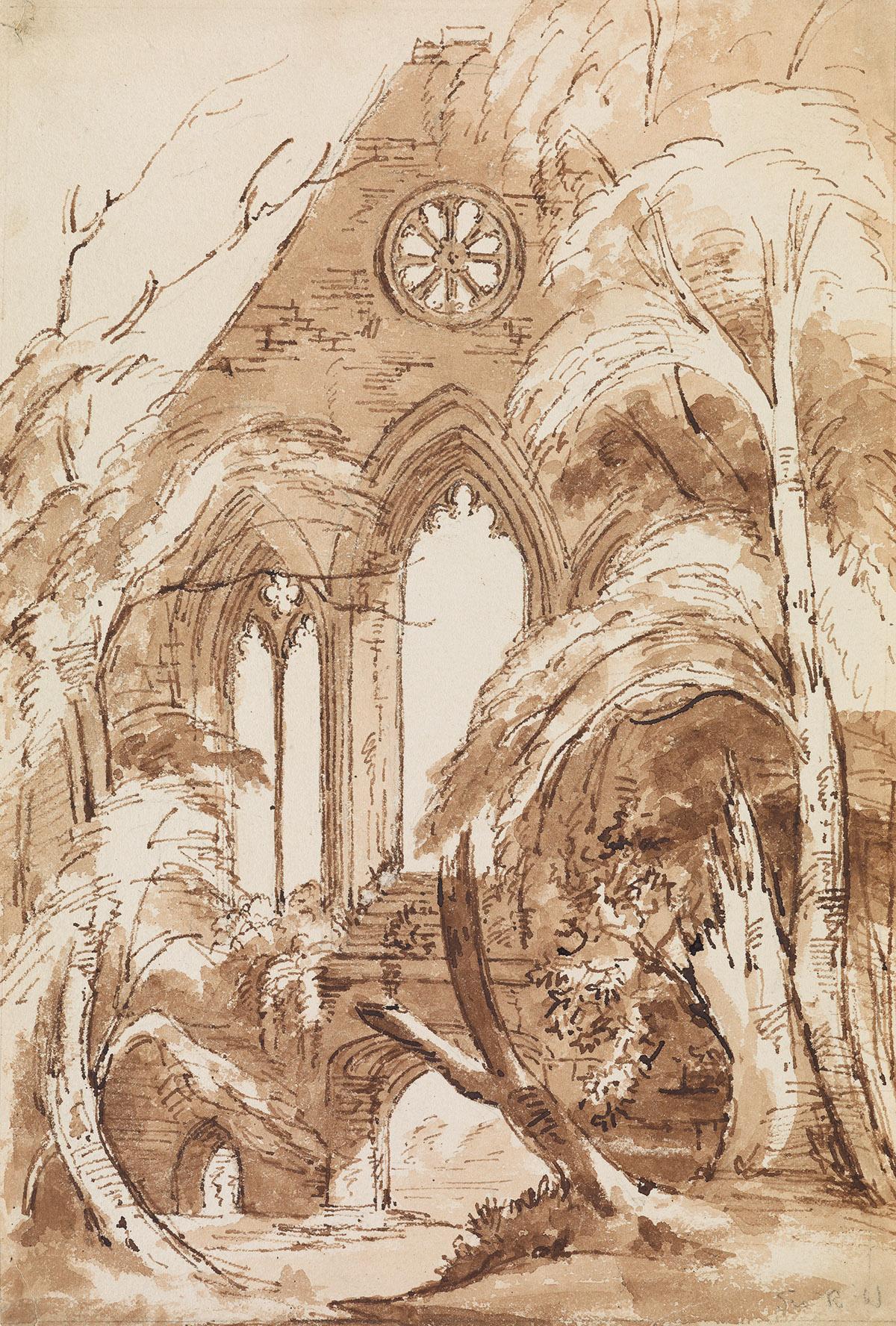 RICHARD WESTMACOTT (London 1775-1856 London) Study of a Ruined Abbey.