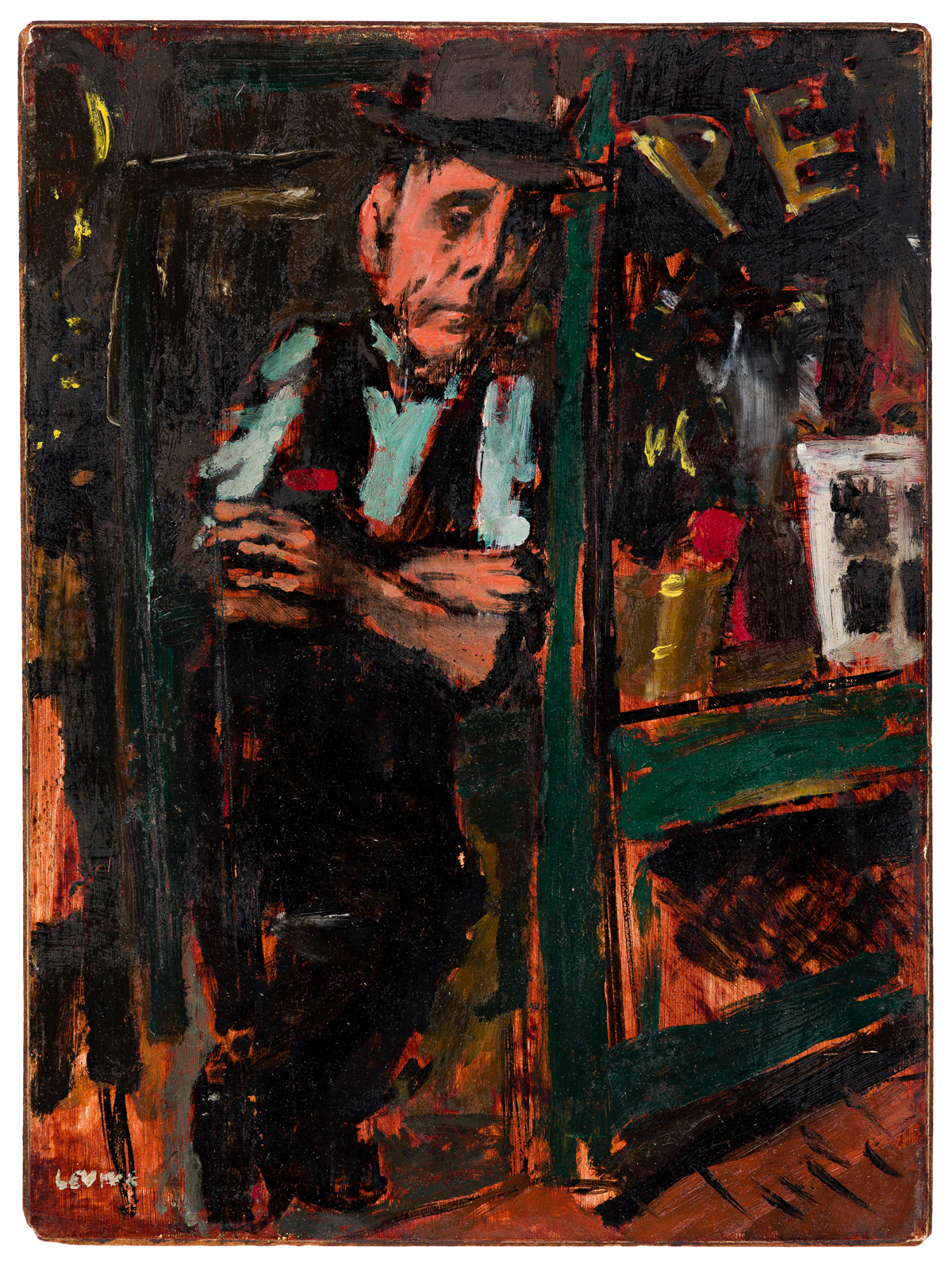 JACK LEVINE (1915-2010) Man Standing in a Store Doorway.
