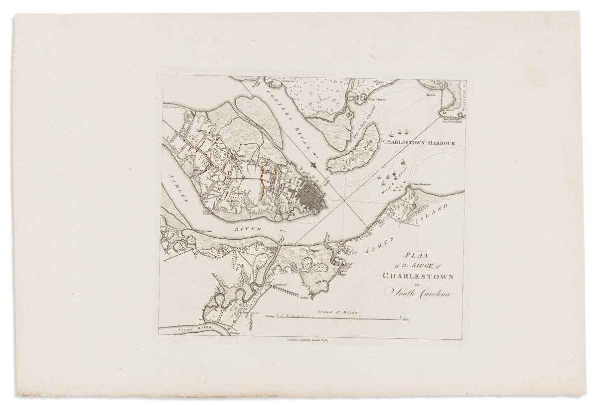 (CHARLESTON.) Tarleton, Banastre. Plan of the Siege of Charleston in South Carolina.