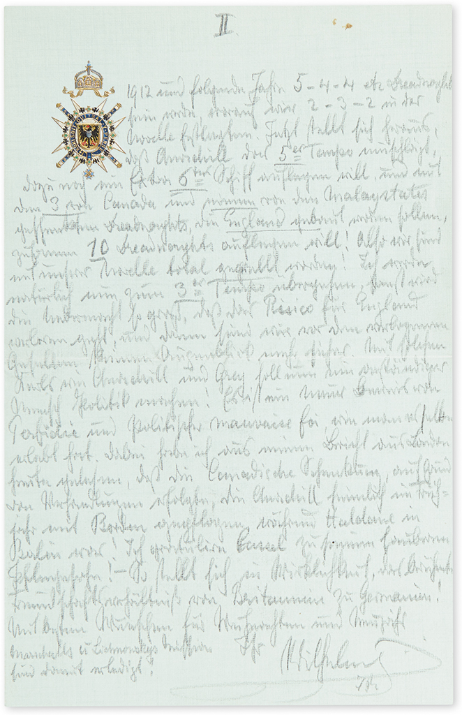 WILHELM II; EMPEROR OF GERMANY. Two Autograph Letters Signed, Wilhelm / I.R., as Emperor, to General Director of the Hamburg America