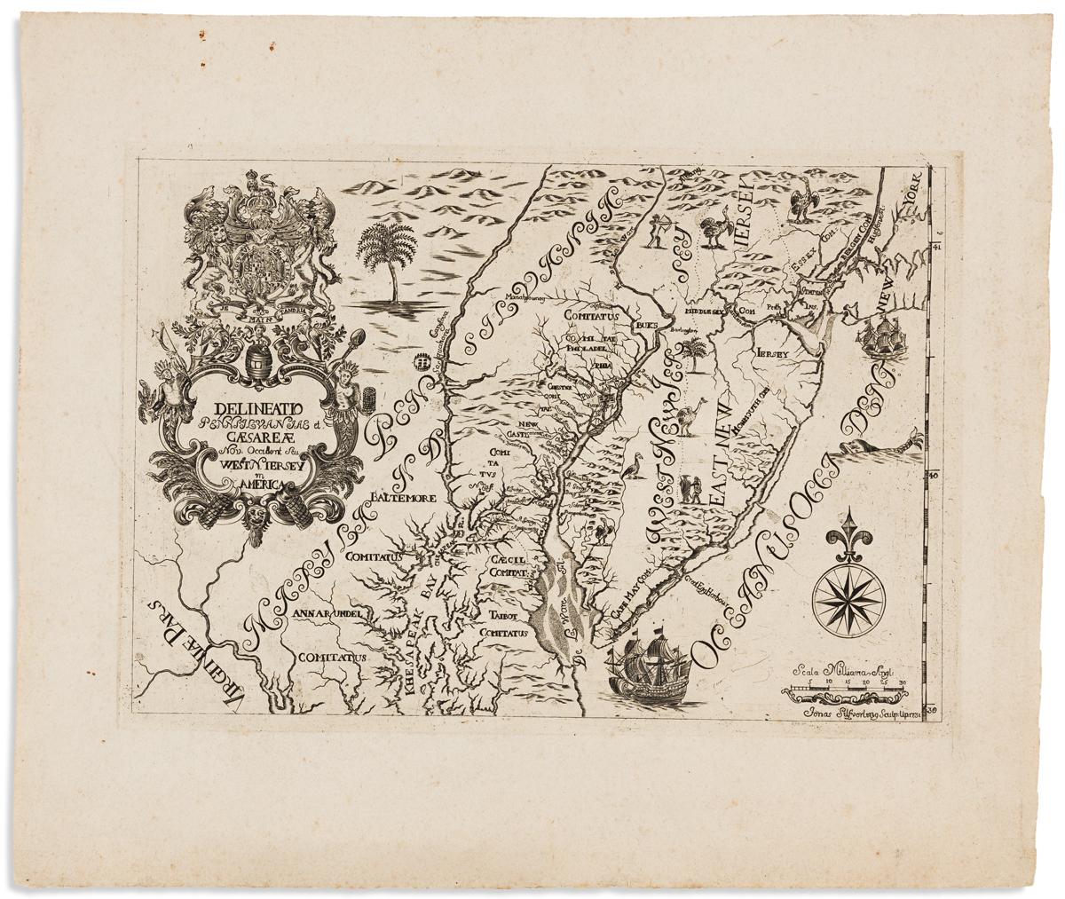 BIORCK, ERIC TOBIAS; and SILFVERLING, JONAS, engr. Delineatio Pennsilvaniae et Caesareae Nov. Occident Seu West N. Jersey in America.