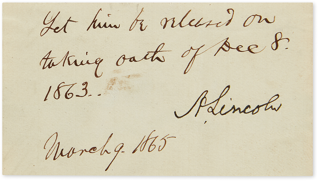 LINCOLN, ABRAHAM. Endorsement Signed, A. Lincoln, as President,