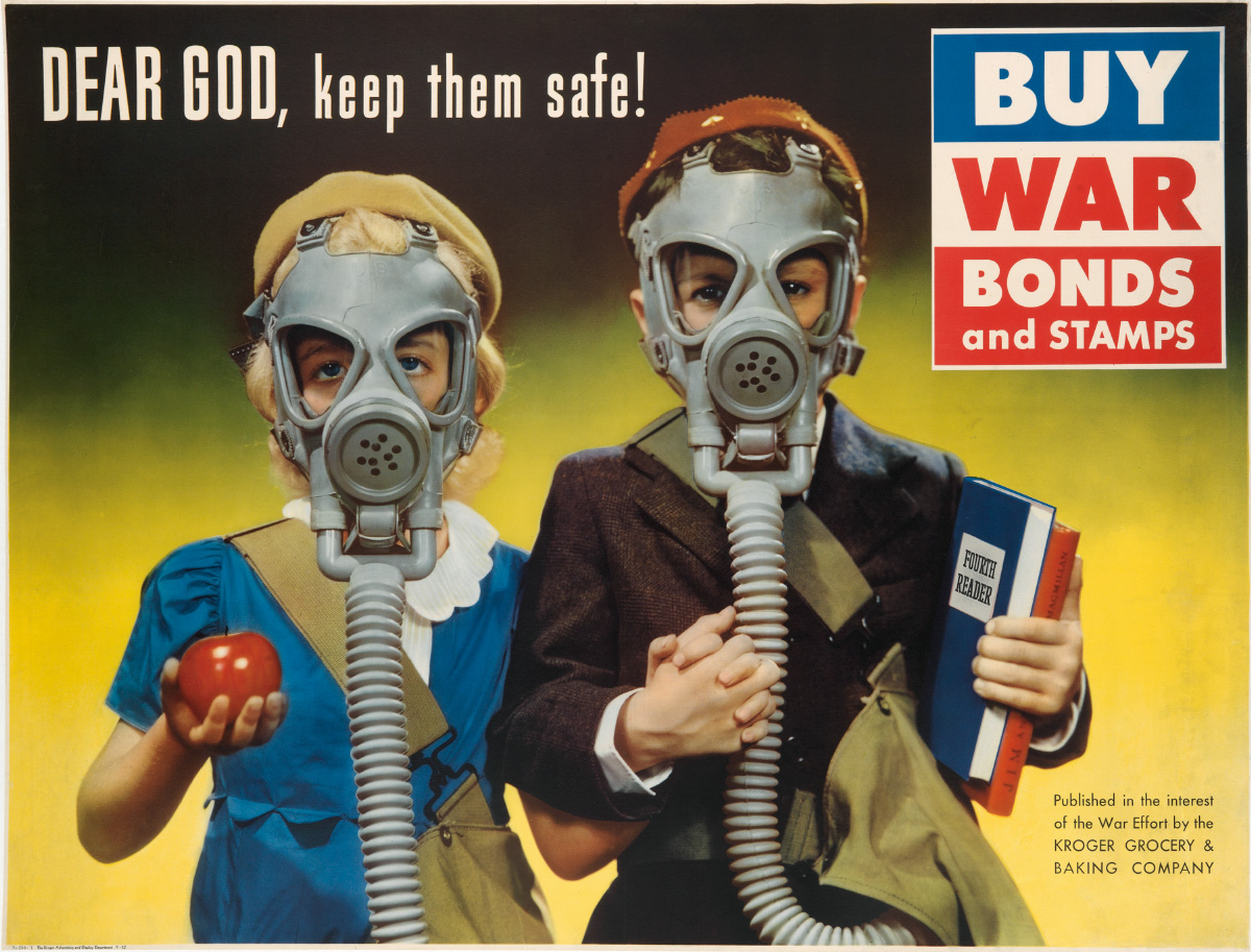 DESIGNER UNKNOWN. DEAR GOD, KEEP THEM SAFE! / BUY WAR BONDS AND STAMPS. 1942. 35x47 inches, 90x119 cm.