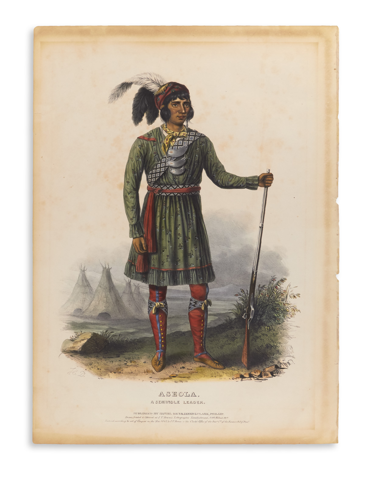 (NATIVE AMERICANS.) McKenney, Thomas; and Hall, James. Aseola, A Seminole Leader.