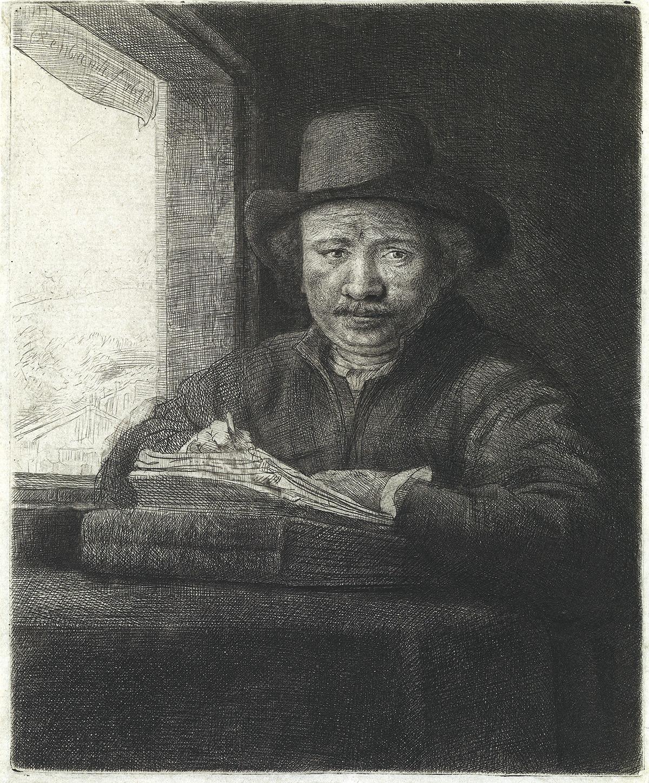REMBRANDT-VAN-RIJN-Self-Portrait-Drawing-at-a-Window