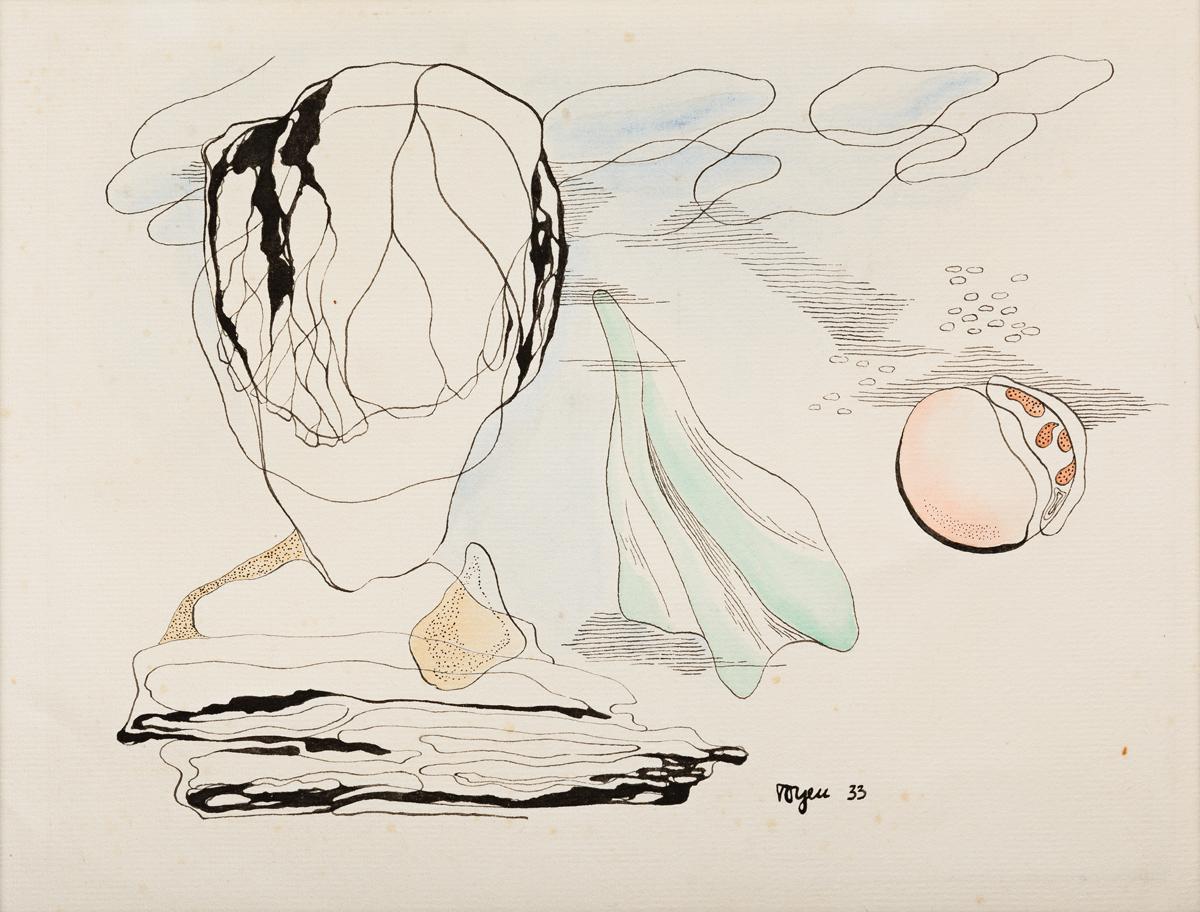 TOYEN (MARIE CERMINOVA, 1902-1980) Surrealist Composition.