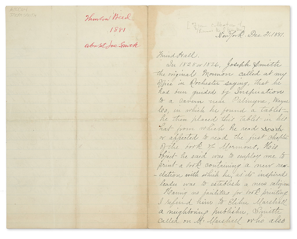(MORMONS.) Weed, Thurlow. Letter describing Joseph Smiths hunt for a printer of the first Book of Mormon.