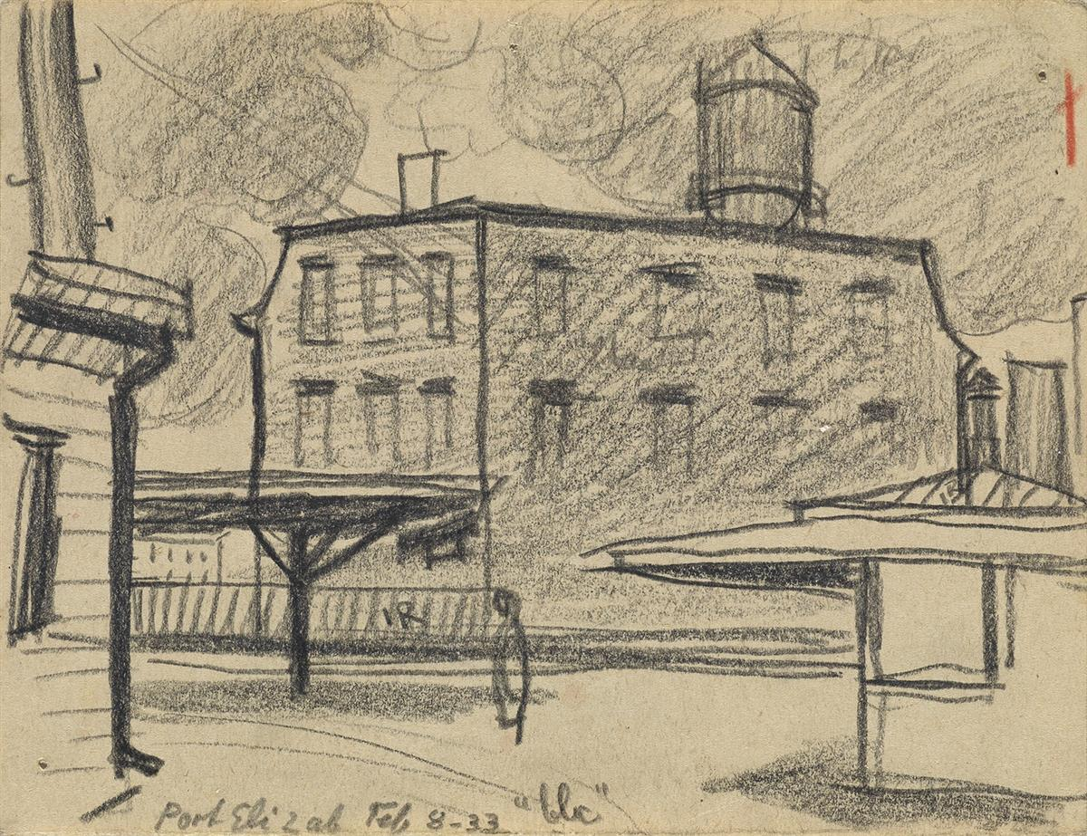 OSCAR-BLUEMNER-Two-charcoal-drawings