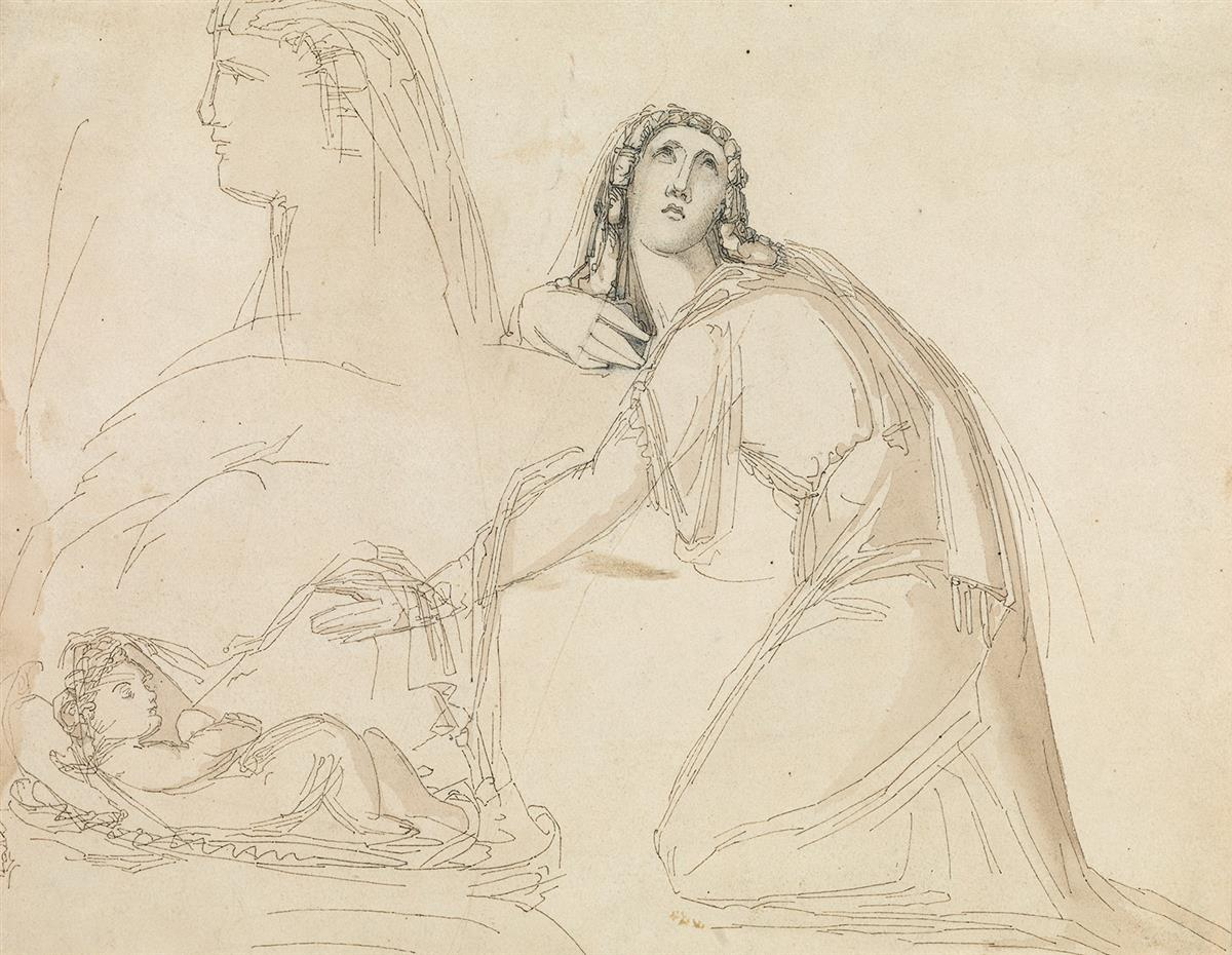 WILLIAM PITTS (London 1790-1840 London) Study of a Mother and Sleeping Child beside a Sphinx.