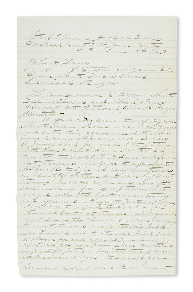 (MORMONS.) Smith, Hyrum. Joseph Smiths brother agrees to pay off a construction debt in September 1844.