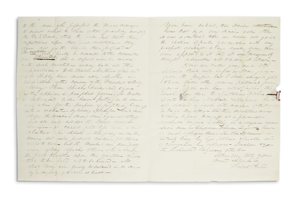 PIERCE, FRANKLIN. Autograph Letter Signed, Frank Pierce, as Representative, to Colonel John H. Steele,