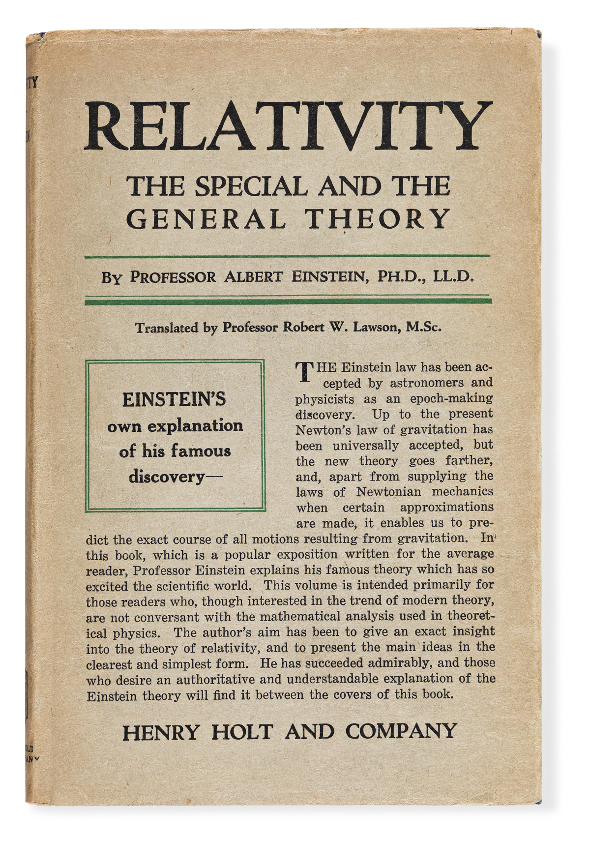 Einstein, Albert (1879-1955) Relativity. The Special and General Theory.