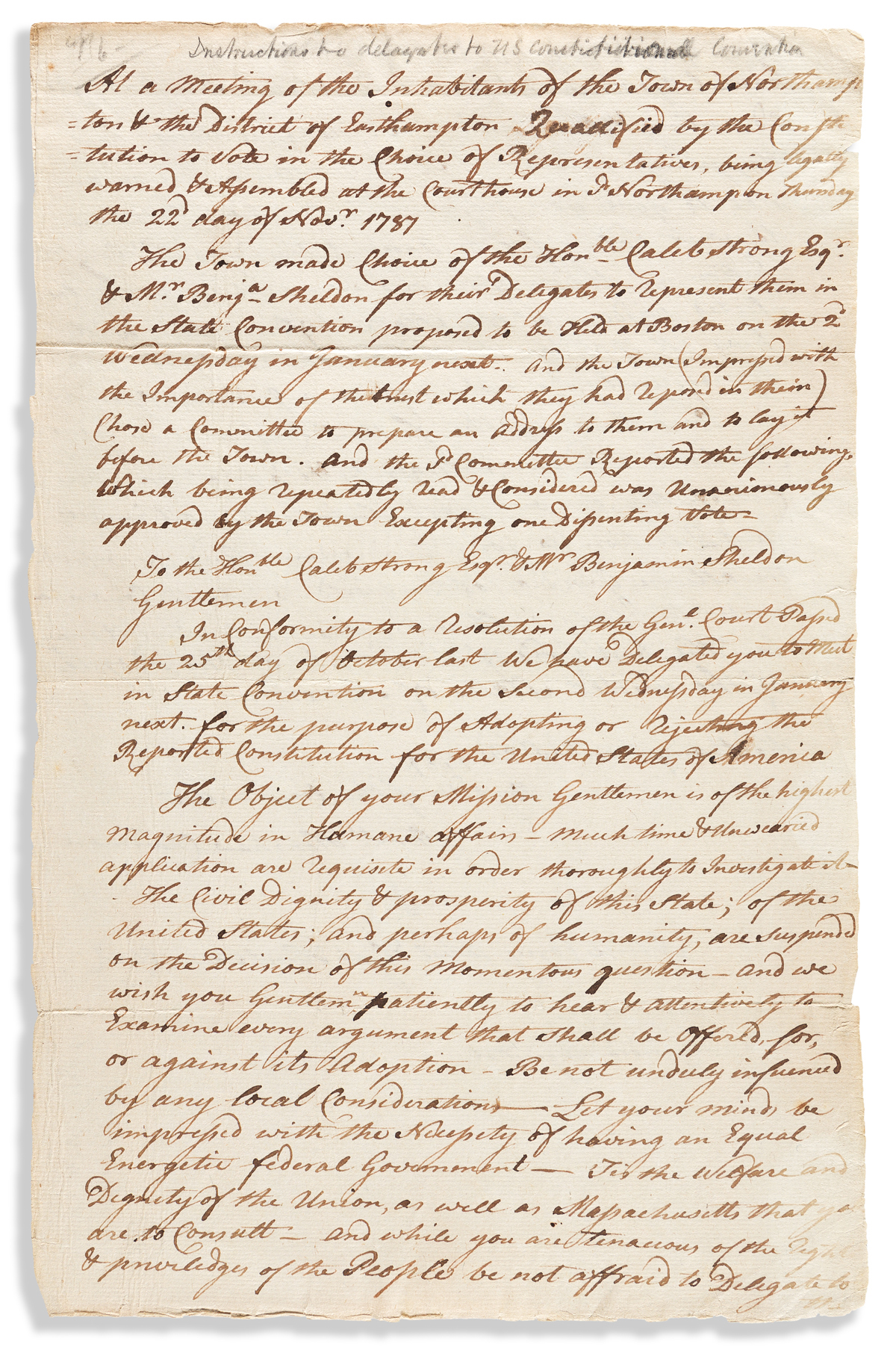 (CONSTITUTION.) Samuel Henshaw. Inspirational letter to two Massachusetts delegates to U.S. Constitutional Convention.