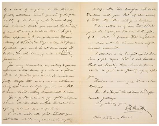 (DOUGLASS, FREDERICK.) BASSETT, E[BENEZER] DON CARLOS. Autograph Letter Signed to Frederick Douglass regarding his appointment as minis