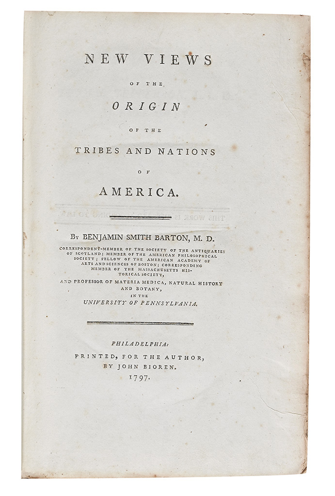 (AMERICAN INDIANS.) Barton, Benjamin Smith. New Views of the Origin of the Tribes and Nations of America.