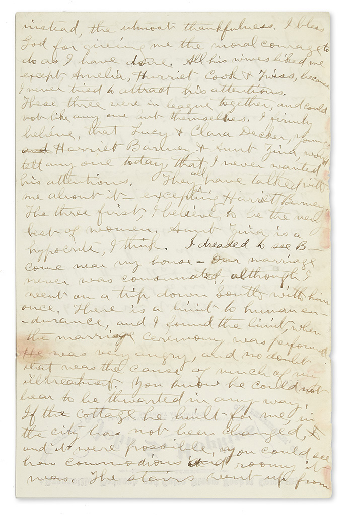 (MORMONS.) Young, Ann Eliza (Webb). Letter from an ex-wife of Brigham Young.