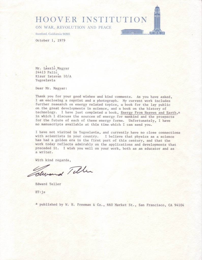 (SCIENTISTS)-TELLER-EDWARD-Typed-Letter-Signed-to-László-Mag