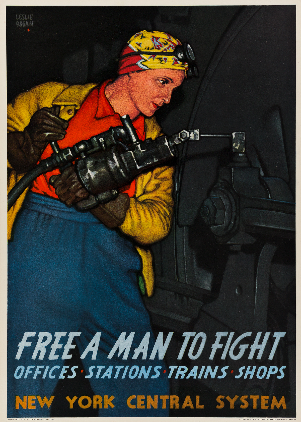 LESLIE RAGAN (1897-1972). FREE A MAN TO FIGHT / NEW YORK CENTRAL SYSTEM. 1943. 27x19 inches, 70x50 cm. Brett Lithographing Company, [Ne