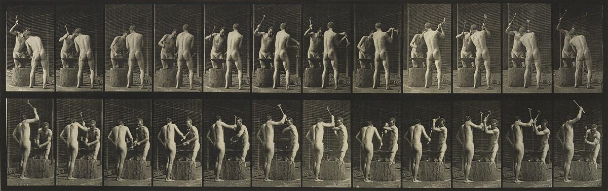 EADWEARD-MUYBRIDGE-(1830-1904)-A-selection-of-7-plates-from-Animal-Locomotion-of-men-engaged-in-various-activities