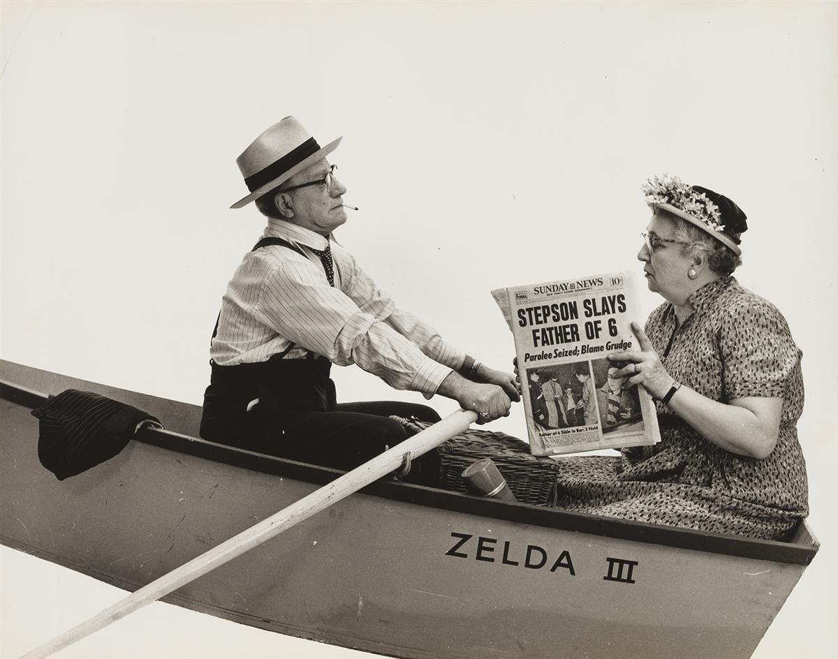 HOWARD ZIEFF (1927-2009) Couple in boat from the Daily News series.