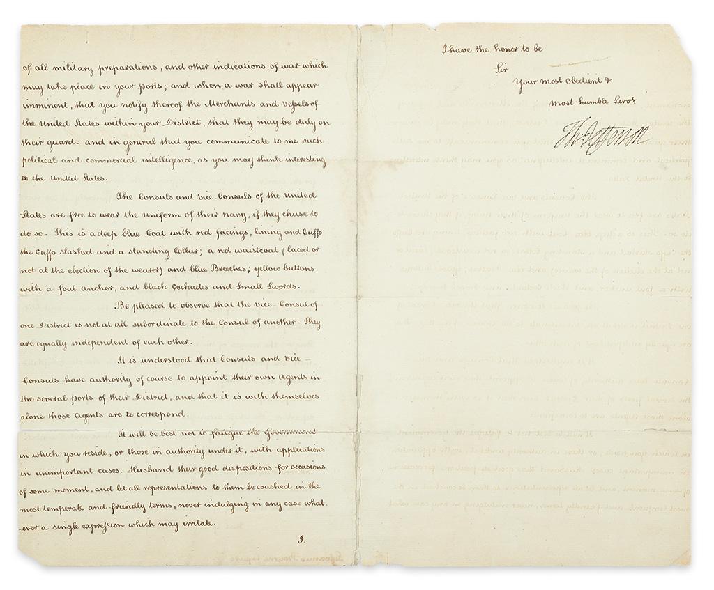 JEFFERSON, THOMAS. Letter Signed, Th:Jefferson, as Secretary of State, to Consul at Hispaniola Sylvanus Bourne,