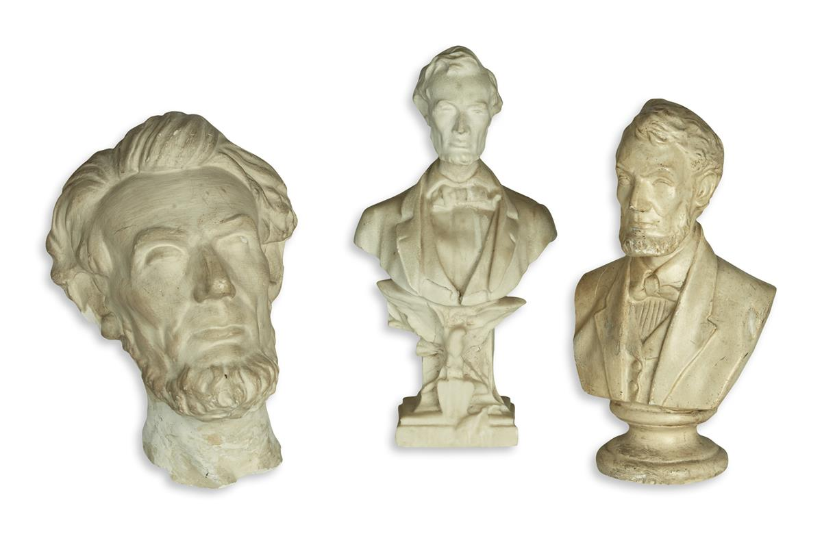 (SCULPTURE)-Group-of-3-Lincoln-busts