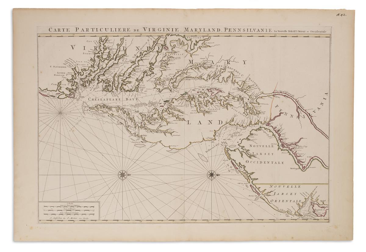 MORTIER, PIERRE. Carte Particuliere de Virginie, Maryland, Pennsilvanie, la Nouvelle Jarsey Orient et Occidentale.