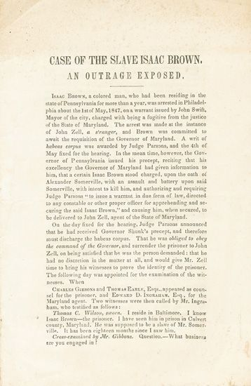 (SLAVERY AND ABOLITION.) BROWN, ISAAC. The Case of the Slave Isaac Brown Exposed.