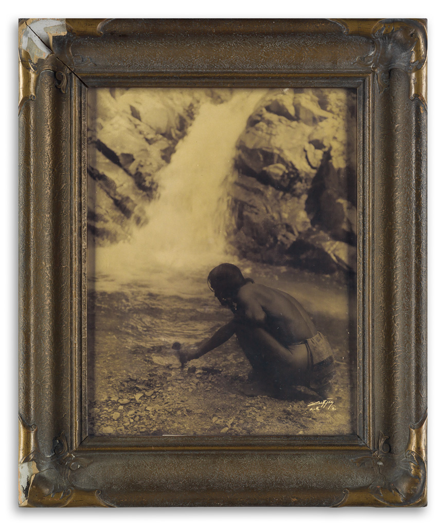 EDWARD-S-CURTIS-(1868-1952)-An-Offering-at-the-Waterfall-Nam