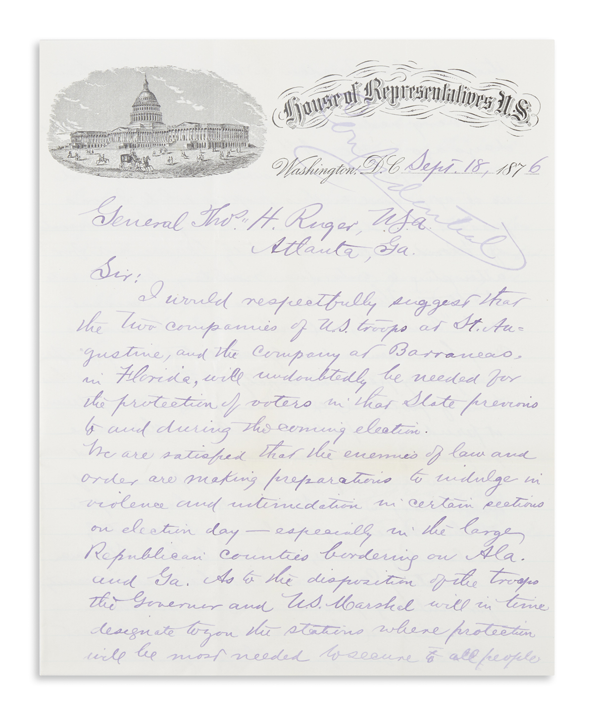 (HAYES, RUTHERFORD B.) Archive of 16 items on the 1876 election in Florida,