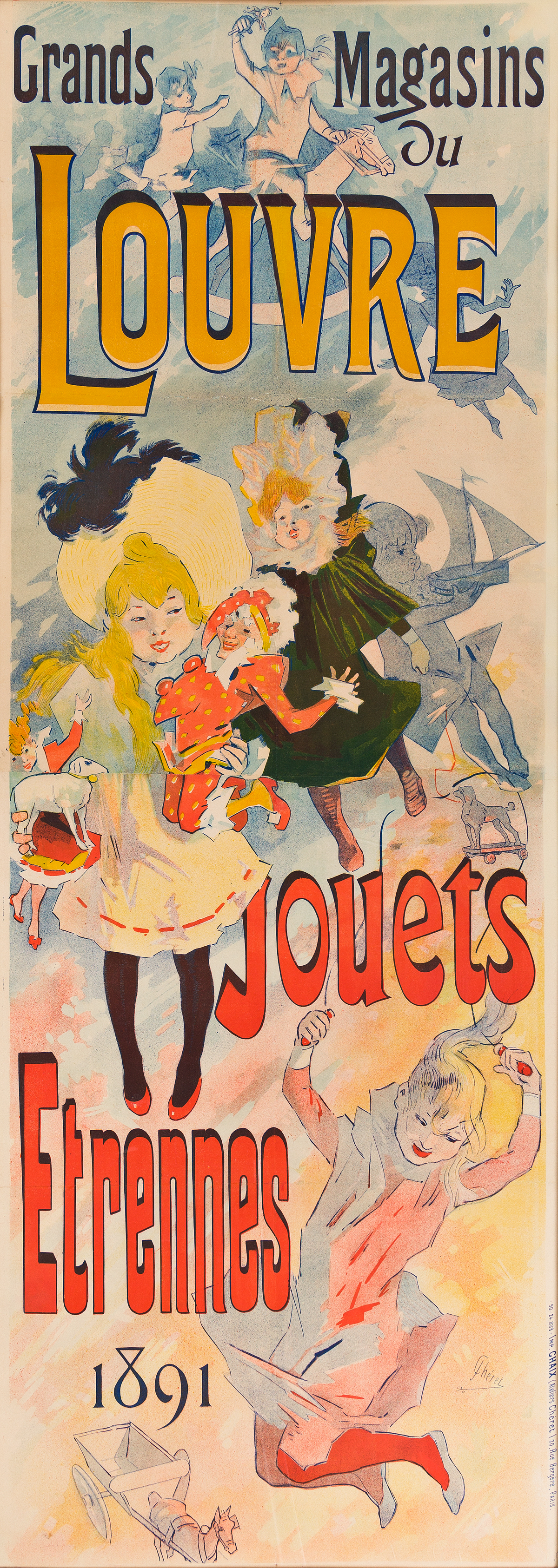 JULES CHÉRET (1836-1932).  GRANDS MAGASINS DU LOUVRE / JOUETS ETRENNES. 1891. 93½x34 inches, 237½x86¼ cm. Chaix, Paris.
