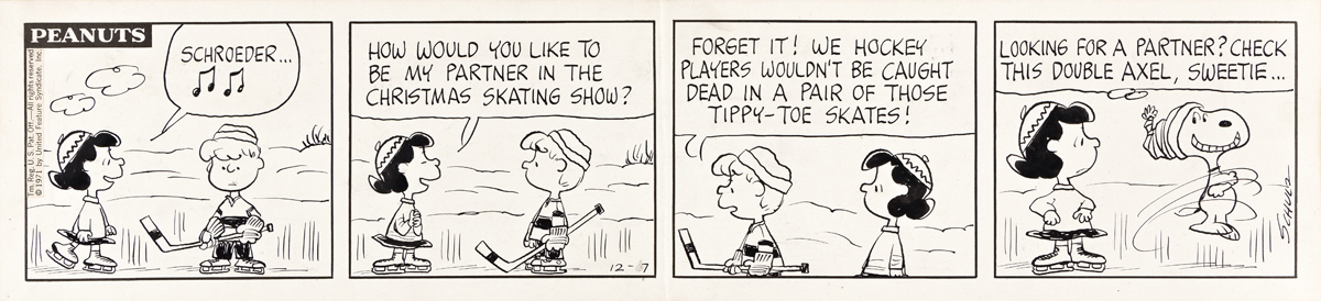 CHARLES SCHULZ (1922-2000) Schroeder, how would you like to be my partner in the Christmas Skating show? [COMICS / PEANUTS]