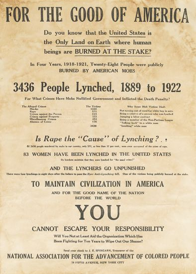 (CIVIL RIGHTS.) NAACP. For the Good of America. Do you know that the United States is the Only Land on Earth where Human Beings are Bur
