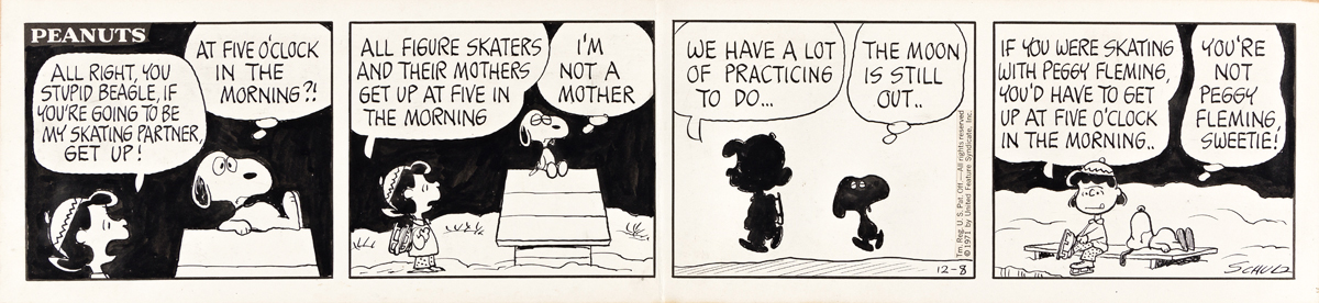 CHARLES SCHULZ (1922-2000) All right, you stupid beagle, if youre going to be my skating partner, get up! [COMICS / PEANUTS]